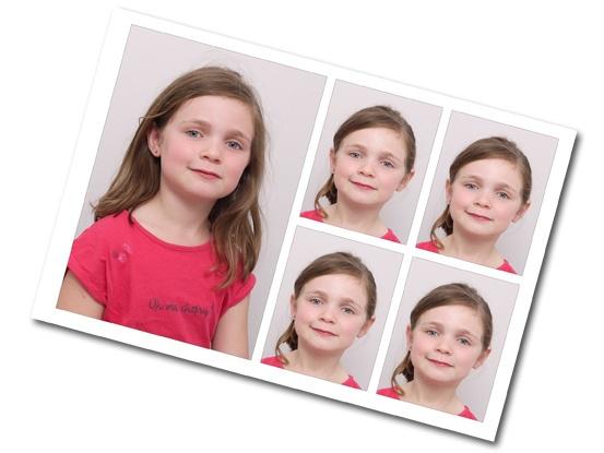 Planche de 1 mini portrait + 4 identités (3 prises de vue pour choix)