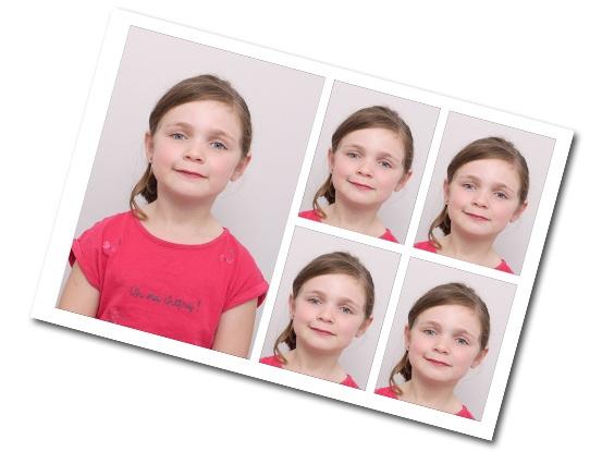 Planche de 1 mini portrait + 4 photos d'identités